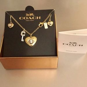 Coach Heart TurnLock Hanging Necklaces & Earrings